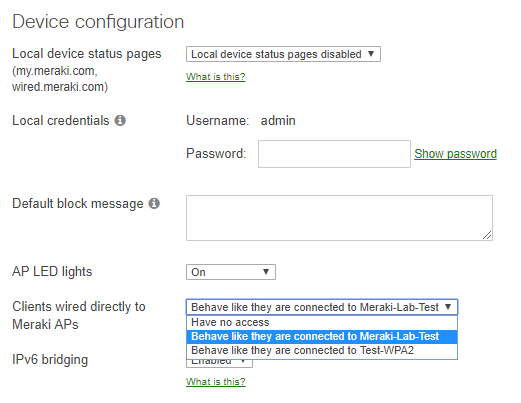 Meraki-bridge-configuration